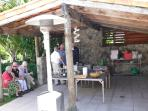 Outdoor kitchen on a garden party day