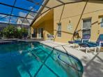 Heated pool and spa with large decking area