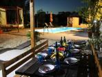 BBQ Area and Pool at Night