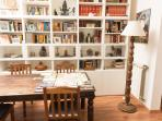 living room table and bookcase