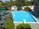 Pool 80 sqm plus solarium 400 sqm, outdoor dining tables with 12 seats, shower and little bathroom