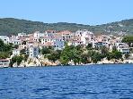 View of Skiathos town