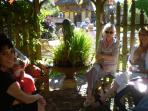 Tea in the Gazebo, lovely on a hot sunny day to catch a cool breeze. The water feature is quirky,fun