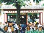 Art deco Cafe des Colonnes, local institution and popular meeting place in Riberac since 1832
