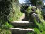 The start of the footpath leading to the village, a pleasant 10 minute stroll