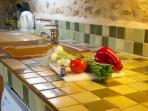 Traditional style country kitchen, market day is a must for all your fresh fruit and vegetables