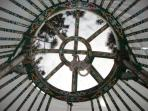 The beautiful crown wheel, this opens up allowing you to gaze at the stars at night.