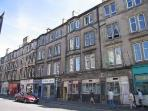The outside of our building, which is a traditional Edinburgh tenement.