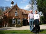 Paul, Flora and Jessie in front of Coach House