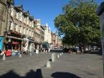 The bustling Grassmarket just seconds away