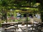 Pretty wisteria pub beer garden 2 minutes away - ideal for an alfresco lunch / dinner