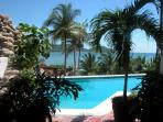The swimming pool overlooks Zihuatanejo Bay and is exclusively for guests in our building