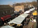 Visit local Broadway Market on a Saturday and enjoy organic food while listening to street music