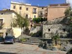 Piazza Cimalonga, the central square of old town of Scalea