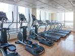 Fully equipped gym includes latest machines and weights. Sauna and changing rooms available.