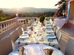 Sunset dining on the Grand Terrace with panoramic views of the vineyard valleys of St Tropez