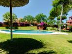 Vista de la piscina y jardines comunitarios