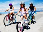 Adult and kids Bikes available with helmets
