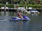Jetskis and charter boats right outside at Sapphire Beach Marina