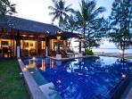 Pool villa at sunset