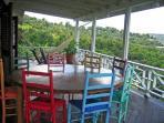 Dining area on the 50 ft long verandah
