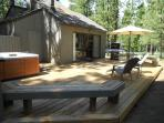 New 600 sf cedar deck in late day shade