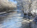 River Balvaig iced over - Glenvarloch cosy even in -20C