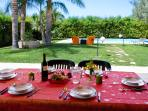 Meal facing the pool