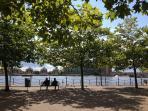 Beautiful water dock scene just steps away