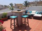 Rooftop terrace with TV, Sonos, BBQ, mountain and sea views