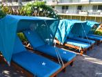 new comfy cabanas on upper courtyard with ocean view