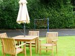 Table and chairs by the Badminton court