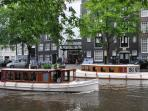 Famous Pulitzer boat across the canal available for hire