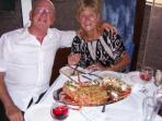 The owners enjoying a lobster in their favourite taverna on the beach 400 meters from the villa