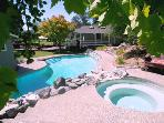 Fallen Tree Ranch, Pool and Hot Tub from the Grape Arbor