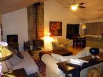 Hearthside Cabin, Living Room at night