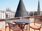 Roof terrace - With tables, chairs, Views to Sagrada Familia