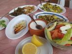 Meze from the Rainbow Restaurant (close to the house)