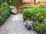 Romantic blooming courtyard