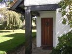 solid oak front door to secure first floor apartment