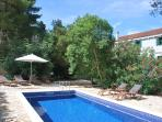 Private pool with garden shower and sunbeds behind the villa