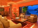 Romantic living/dining rooms with terraces, cantera columns, and brick domes