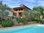 Tuscan villa sleeps 8 + 1 solar heated pool Views