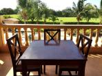 Tables and seating are located on 2nd floor wrap around terrace overlooking backyard & golf course