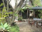 Secluded covered Patio and BBQ area