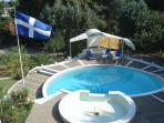 Pool from above. In front a multifunction fountain (small children pool and spa)