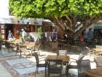 Another beautiful plaza with popular shaded restaurant eating area.