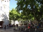 Uzes, la Place aux herbes (movie set of Cyrano de Bergerac)