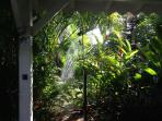 garden shower after sea bathing and before enjoying the pool
