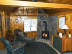 Living area and woodstove